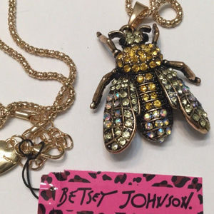Betsy Johnson crystal bee fly insect bug necklace